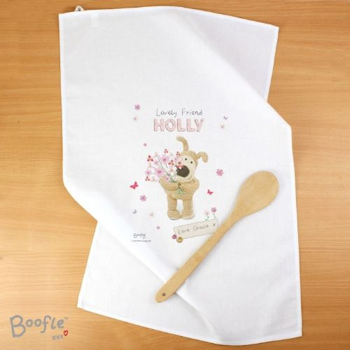 Personalised Personalised Boofle Flowers Tea Towel